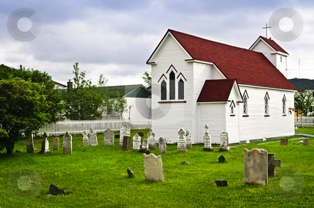 St. Luke's Church and cemetery in Placentia stock photo, St. Luke's Anglican church and cemetery in Placentia Newfoundland, Canada by Elena Elisseeva
