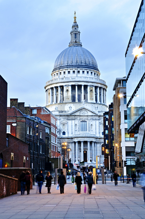 St. Paul's Cathedral London at dusk stock photo, View of St. Paul's Cathedral in London from street at dusk by Elena Elisseeva