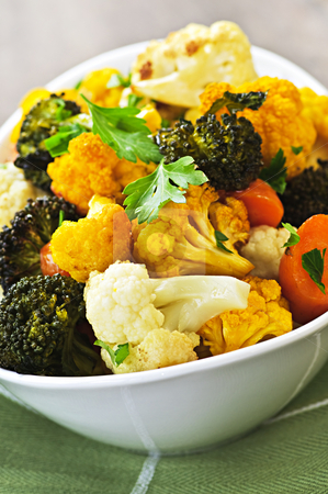 Roasted vegetables stock photo, Vegetarian dish of fresh roasted organic vegetables by Elena Elisseeva
