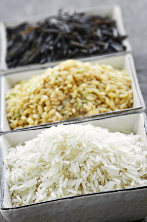 Three bowls of rice stock photo, Three bowls of white, brown and wild black uncooked rice by Elena Elisseeva