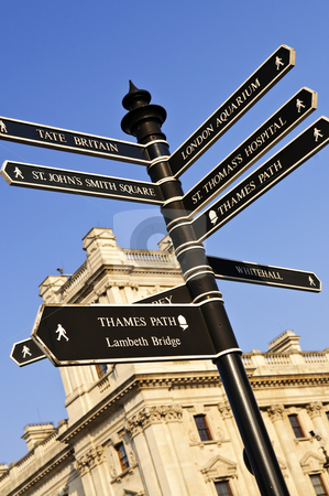 Signpost in London stock photo, Signpost in Westminster London showing various attractions by Elena Elisseeva