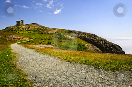 Long path to Cabot Tower on Signal Hill stock photo, Long gravel path to Cabot Tower on Signal Hill in Saint John's, Newfoundland by Elena Elisseeva