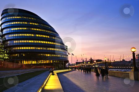 London city hall at night stock photo, New London city hall at night with pedestrians on sidewalk by Elena Elisseeva
