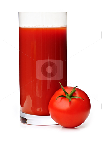 Tomato juice in glass stock photo, Tomato juice in clear glass isolated on white background by Elena Elisseeva