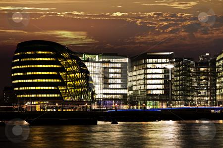 London city hall at night stock photo, New London city hall at night from Thames river by Elena Elisseeva
