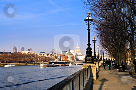London view from South Bank stock photo, View of St. Paul's Cathedral from South Bank of Thames river in London by Elena Elisseeva