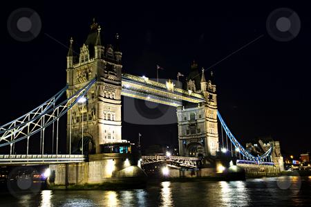 Tower bridge in London at night stock photo, Tower bridge in London England at night over Thames river by Elena Elisseeva