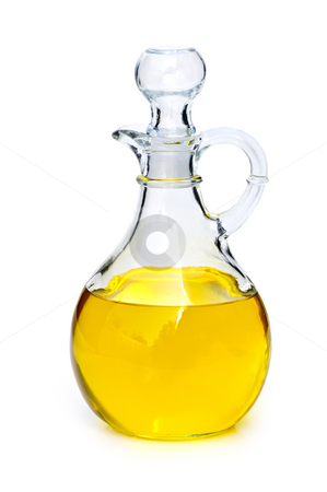 Bottle with oil stock photo, Oil bottle isolated on white background by Elena Elisseeva