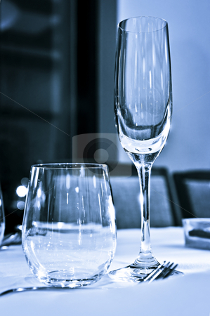 Tableware closeup stock photo, Close up view of table setting with glasses by Elena Elisseeva