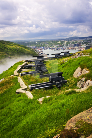 Cannons on Signal Hill near St. John's stock photo, Cannons on Signal Hill near St. John's in Newfoundland Canada by Elena Elisseeva