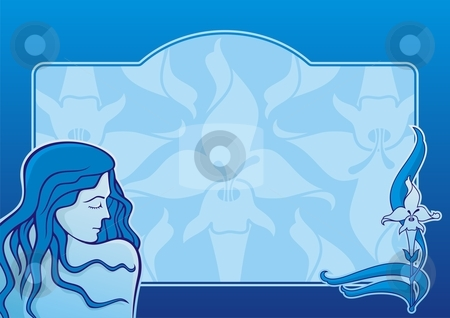 Blue spa girl horizontal stock vector clipart, Young girl with iris flower on blue horizontal background by fractal.gr