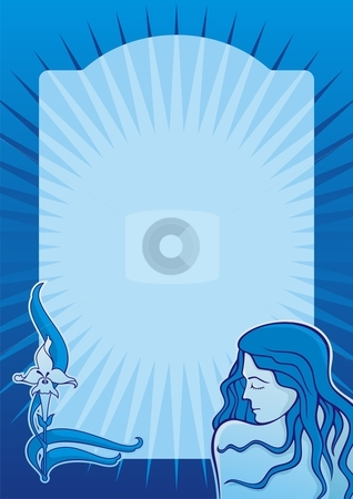 Blue spa girl vertical stock vector clipart, Young spa girl with iris flower on blue vertical background by fractal.gr