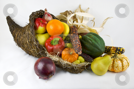 Cornicopia stock photo, Horn of Plenty with fruits and vegetables spilling forth by Eva Browning