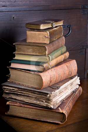 Pmd library pile stock photo, Pile of antique books, one of them over 300 years old by Anneke