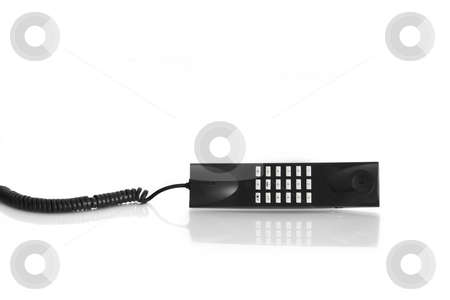 Handset phone stock photo, Phone handset with reflection by ikostudio