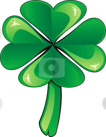 Clover Shamrock stock vector clipart, Vector Illustration four leaf clover shamrock. St. Patrick's Day. by Basheera Hassanali