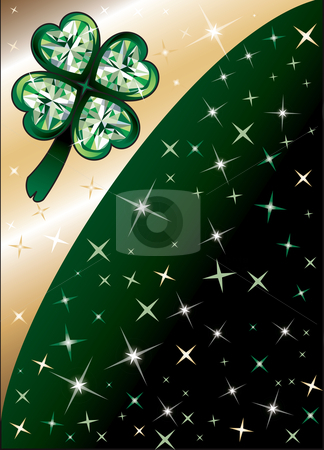 Diamond Green Clover Background stock vector clipart, Golden Diamond Green Clover Shamrock Background with stars. There is space for text or image. by Basheera Hassanali