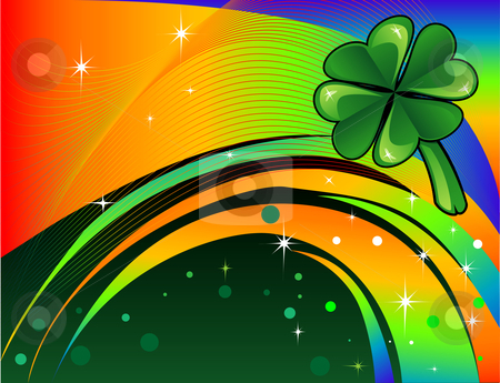 St. Patrick's Day Background stock vector clipart, Vector Abstract shamrock with rainbow colored background. St. Patrick's Day Background. by Basheera Hassanali
