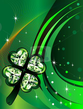 St. Patrick's Day Background stock vector clipart, Vector Abstract shamrock Diamond with background. St. Patrick's Day Background by Basheera Hassanali