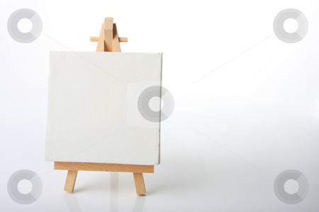 Artists canvas stock photo, Empty artistst canvas on an easel, shot on white, put your own image on it by Johann Helgason