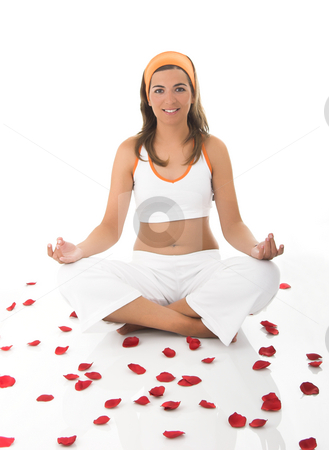 Meditation stock photo, Beautiful woman meditating by ikostudio