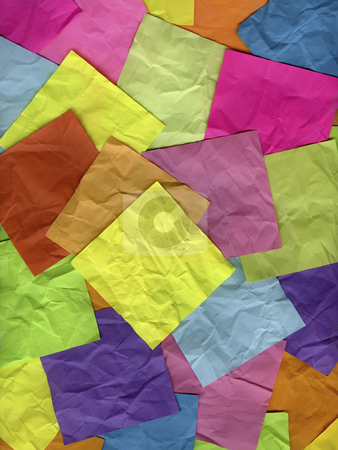 Coloful crumpled sticky notes stock photo, Blank yellow sticky note on top of background of crumpled colorful notes by Marek Uliasz