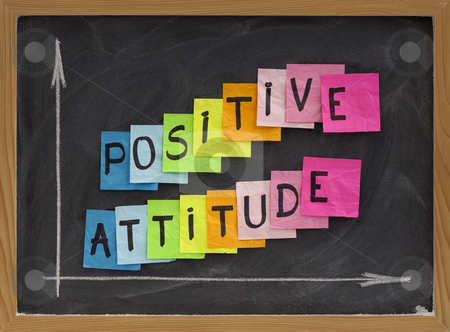Positive attitude stock photo, Positive attitude concept - colorful sticky notes, handwriting and white chalk drawing on blackboard by Marek Uliasz