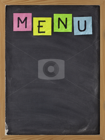 Blank blackboard menu stock photo, Blank restaurant menu - sticky note title on blackboard with white chalk smudges by Marek Uliasz