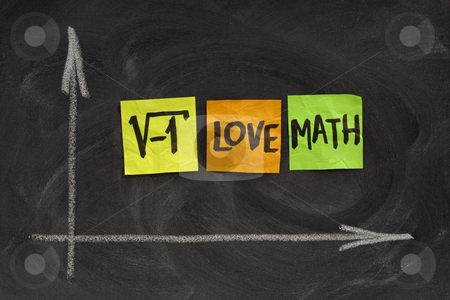 I love math - concept on blackboard stock photo, Square root of negative number - I love math concept, colorful sticky notes, handwriting, white chalk drawing on blackboard by Marek Uliasz