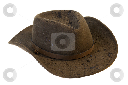 Wet wool felt cowboy hat stock photo, Brown wool felt cowboy hat with rain drops isolated on white background by Marek Uliasz