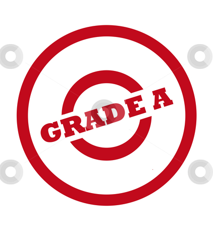 Grade A stamp stock photo, Grade A stamp in red circle, isolated on white background. by Martin Crowdy