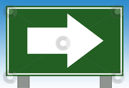 Directional highway sign stock photo, Directional highway or road sign with blue sky background. by Martin Crowdy