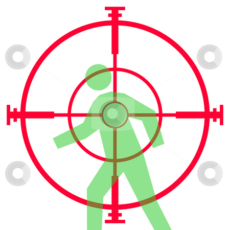 Sniper rifle sight or scope stock photo, Illustration of sniper rifle sight or scope aiming at human target, isolated on white background. by Martin Crowdy