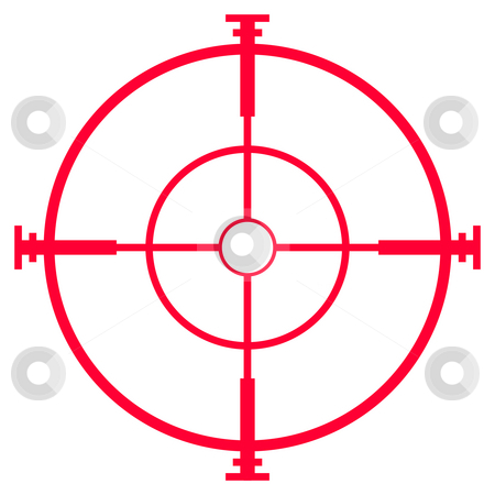 Sniper rifle sight or scope stock photo, Illustration of sniper rifle sight or scope, isolated on white background. by Martin Crowdy