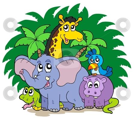 Group of African animals stock vector clipart, Group of African animals - vector illustration. by Klara Viskova