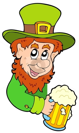 Lurking leprechaun stock vector clipart, Lurking leprechaun on white background - vector illustration. by Klara Viskova