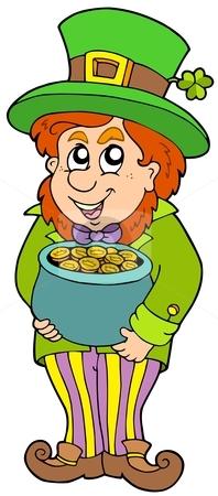 Leprechaun with treasure pot stock vector clipart, Leprechaun with treasure pot - vector illustration. by Klara Viskova
