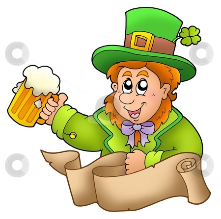 Banner with leprechaun holding beer stock photo, Banner with leprechaun holding beer - color illustration. by Klara Viskova
