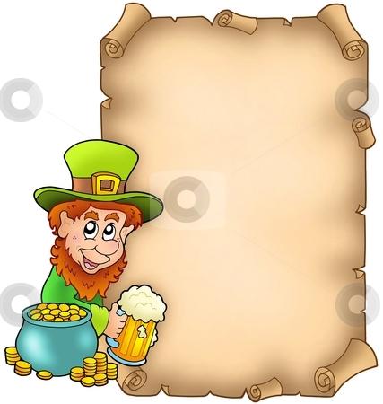 Parchment with leprechaun and gold stock photo, Parchment with leprechaun and gold - color illustration. by Klara Viskova