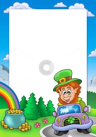 Frame with leprechaun driving car stock photo, Frame with leprechaun driving car - color illustration. by Klara Viskova