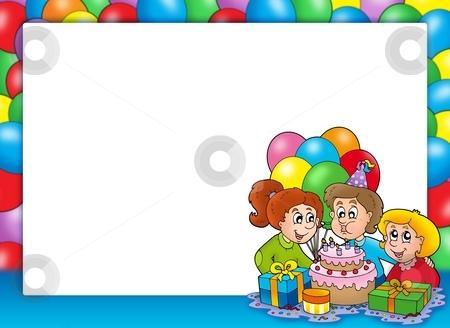 Frame with celebrating children stock photo, Frame with celebrating children - color illustration. by Klara Viskova