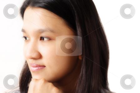 Pretty woman stock photo, Portrait of a woman by Suprijono Suharjoto