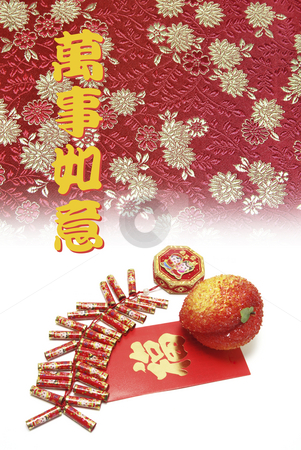 Fire Crackers and Peach on Red Packet stock photo, Fire Crackers and Peach on Red Packet by Lai Leng Yiap