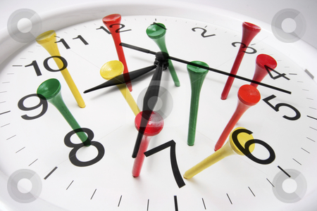 Clock and Golf Tees stock photo, Composite of Clock and Golf Tees by Lai Leng Yiap