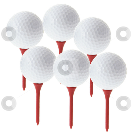 Golf Balls on Tees stock photo, Golf Balls on Tees with White background by Lai Leng Yiap