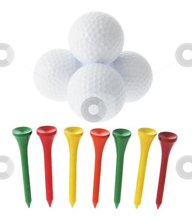 Golf Balls and Tees stock photo, Golf Balls and Tees on White Background by Lai Leng Yiap