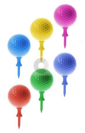Golf Balls on Tees stock photo, Golf Balls on Tees on White Background by Lai Leng Yiap