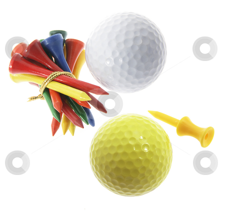 Golf Balls and Tees stock photo, Golf Balls and Tees on Isolated White Background by Lai Leng Yiap