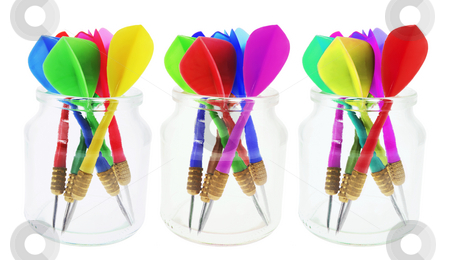 Darts in Glass Jars stock photo, Darts in Glass Jars on White Background by Lai Leng Yiap