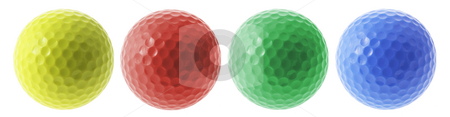 Golf Balls stock photo, Golf Balls on Isolated White Background by Lai Leng Yiap